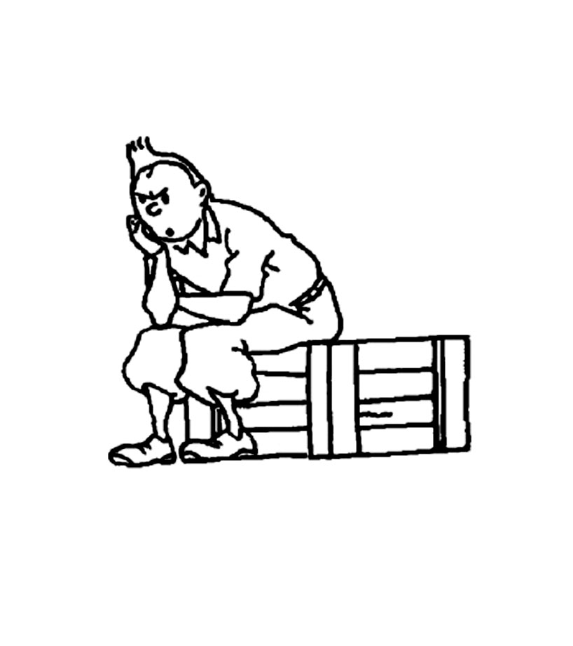 Funny Tintin coloring page for children