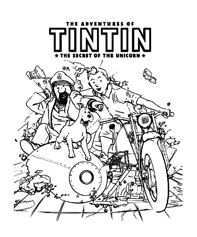 Tintin to print for free Tintin Coloring pages for kids