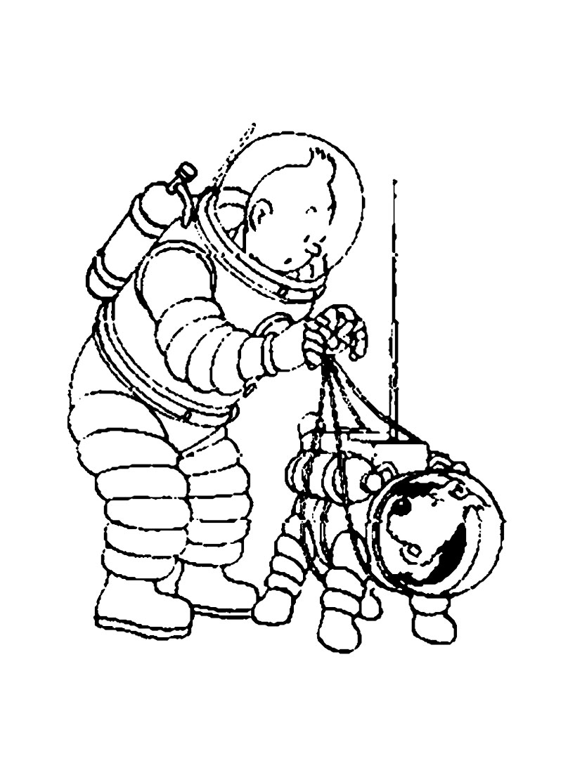 Simple Tintin coloring page to download for free