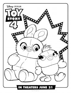 Ducky and Bunny : Cute Toy Story 4 coloring pages
