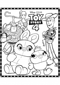 Toy Story 4 coloring page (Disney / Pixar) : All the characters