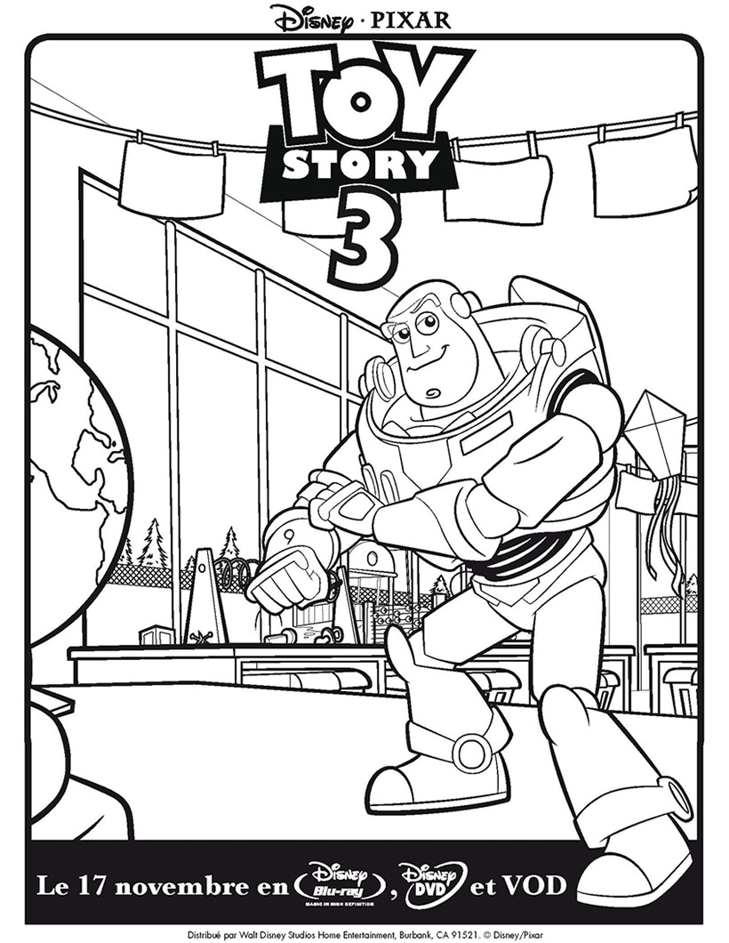 Beautiful Toy Story coloring page : Buzz Lightyear smiling