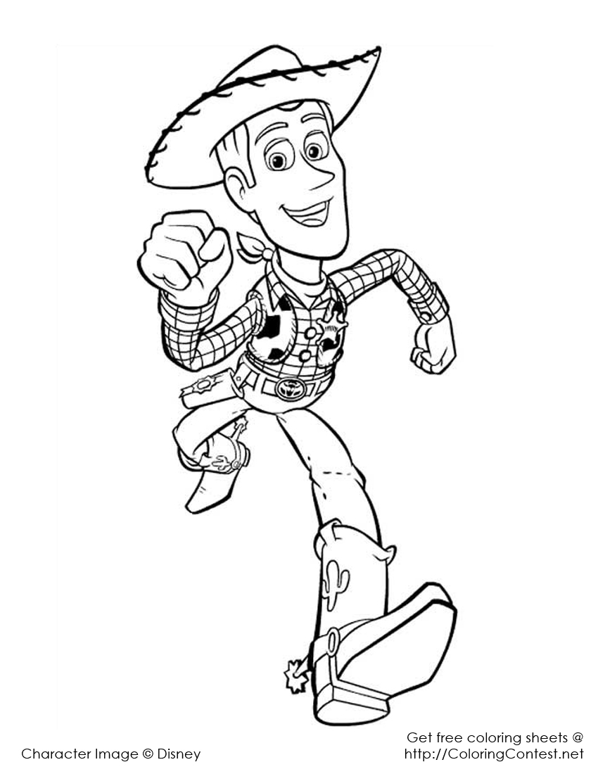 Woody running - Toy Story Kids Coloring Pages