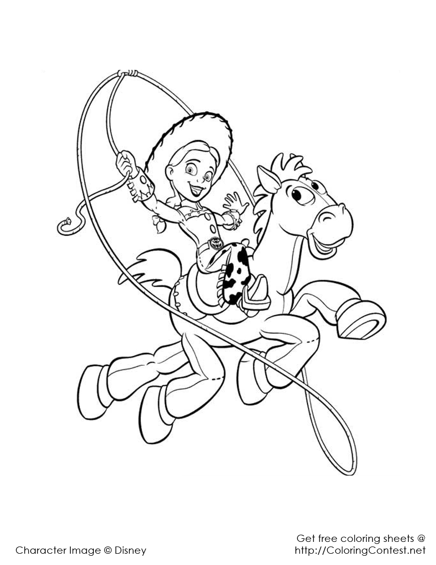 Jessy And Bullseye Toy Story Kids Coloring Pages