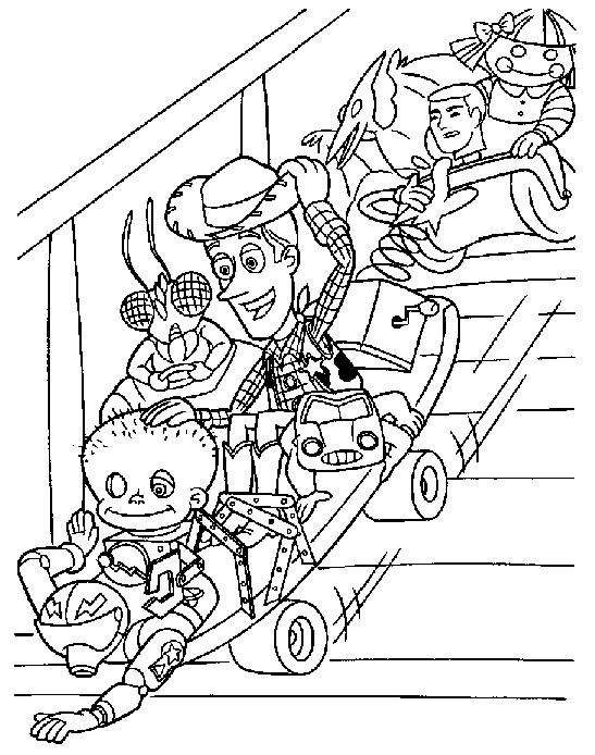 Incredible Toy Story coloring page to print and color for free : Woody and other characters