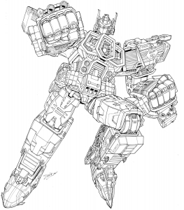 Coloring page transformers to color for kids