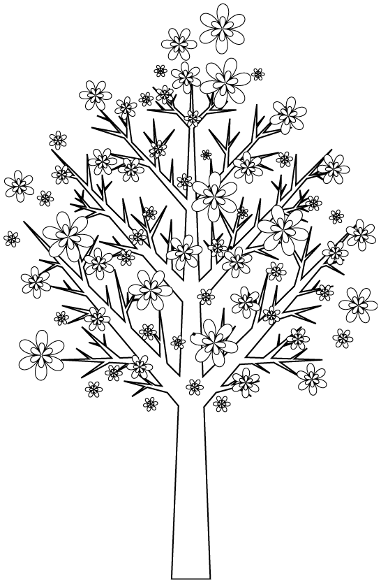 Simple Trees coloring page to print and color for free