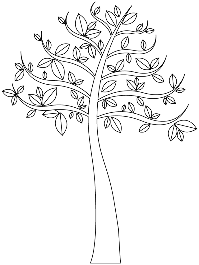 Free Trees coloring page to print and color