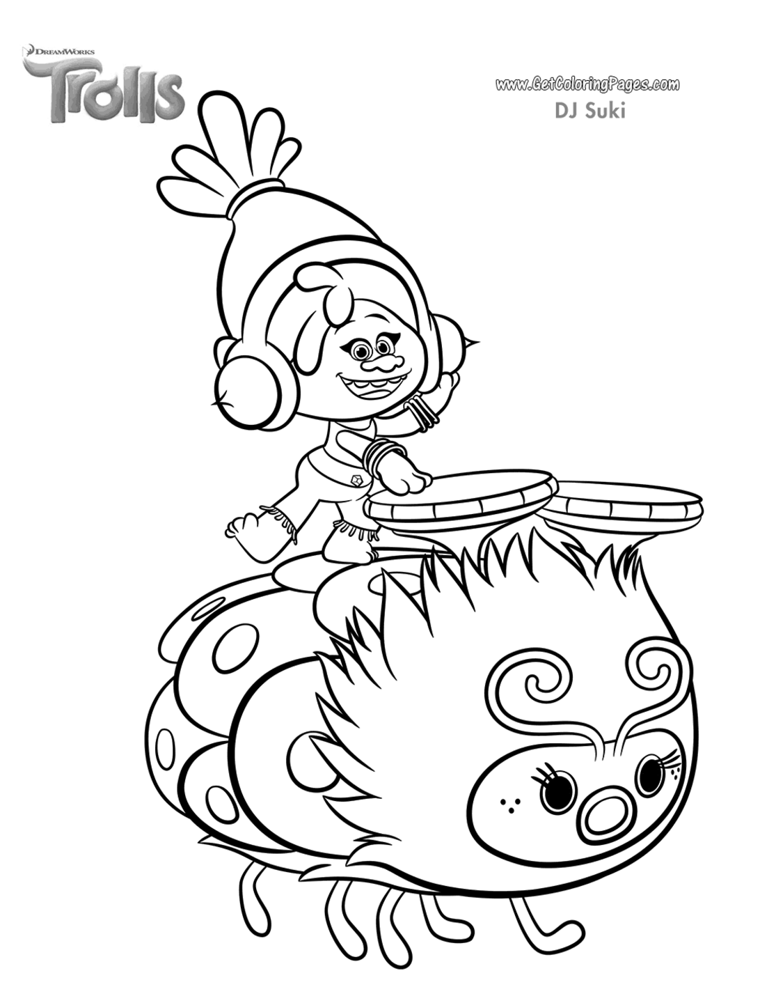 Beautiful Trolls coloring page to print and color