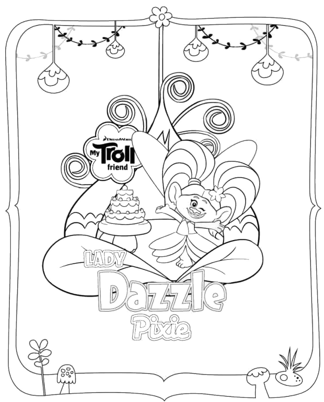 Beautiful Trolls coloring page