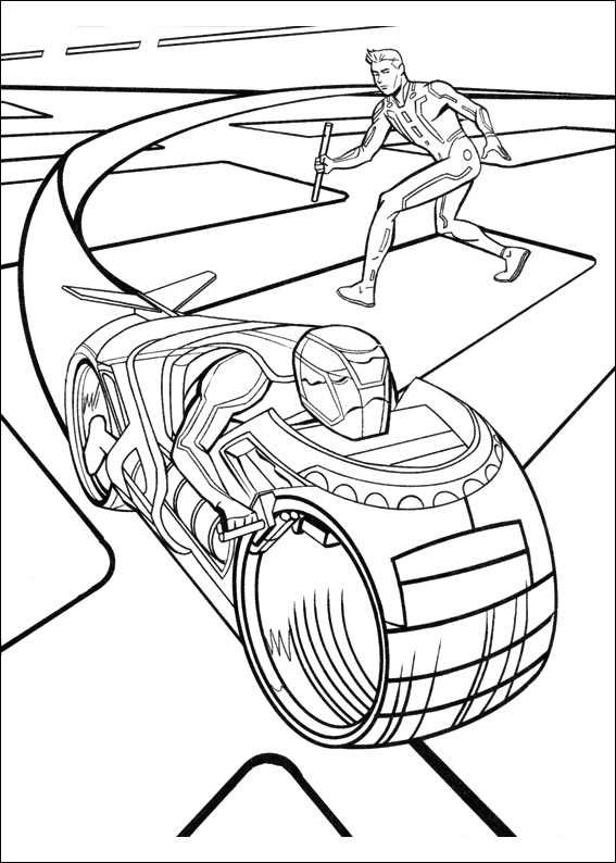 Free Tron coloring page to download, for children