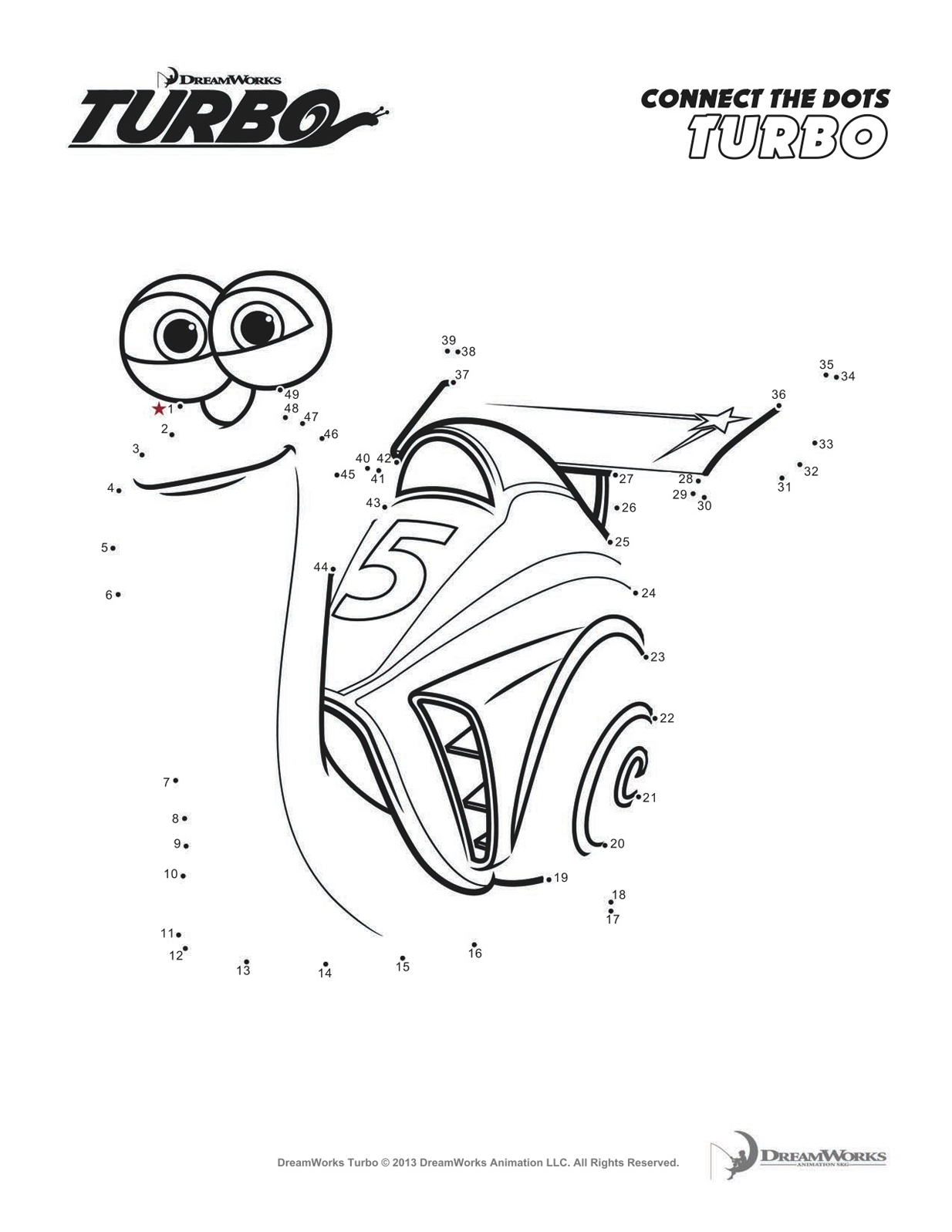 Funny Turbo coloring page for kids