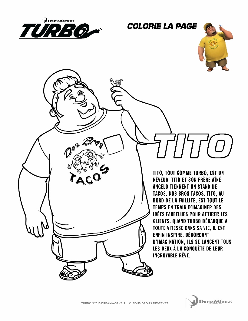 Turbo coloring page to download for free