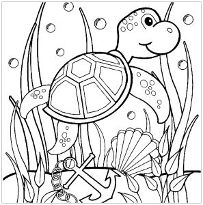 Coloring page turtles free to color for children