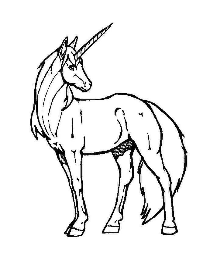 Simple Unicorns coloring page to print and color for free