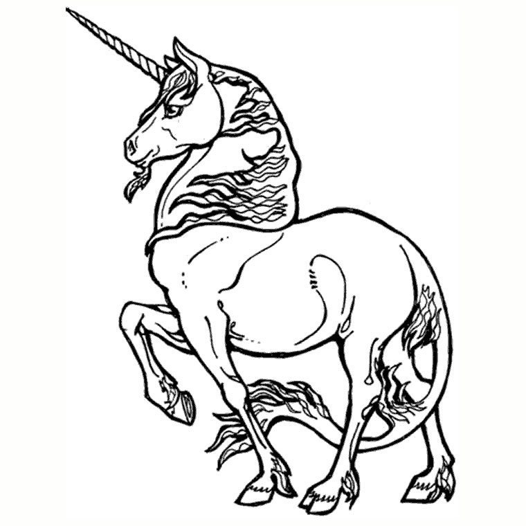 Simple Unicorns coloring page for children