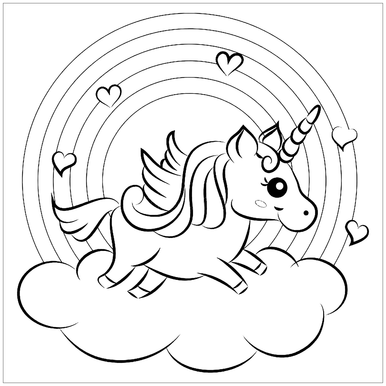 Unicorns free to color for kids - Unicorns Kids Coloring Pages