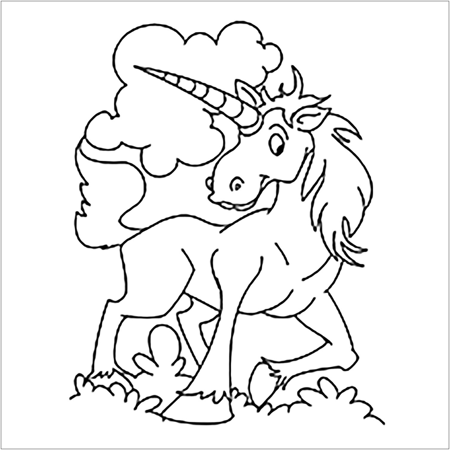 Unicorns coloring page with few details for kids