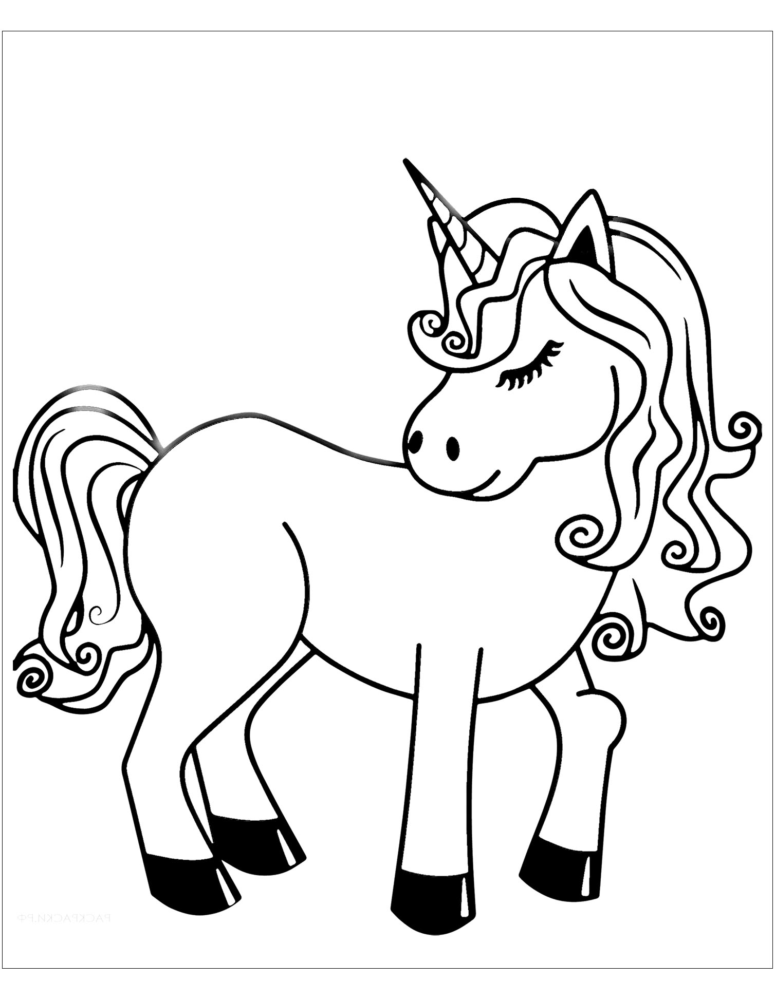 Unicorns coloring page to print and color