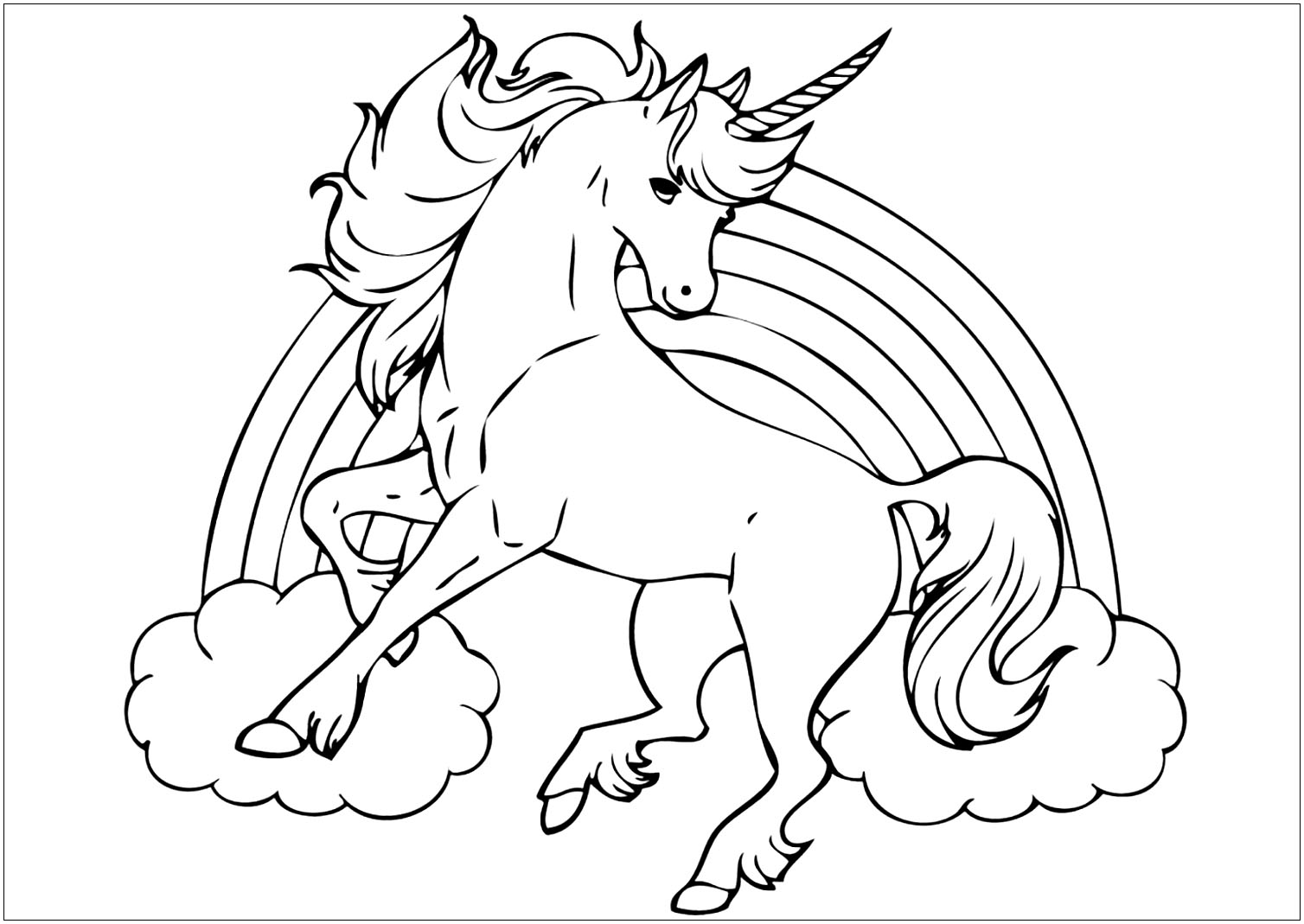 Free Unicorns coloring page to download, for children