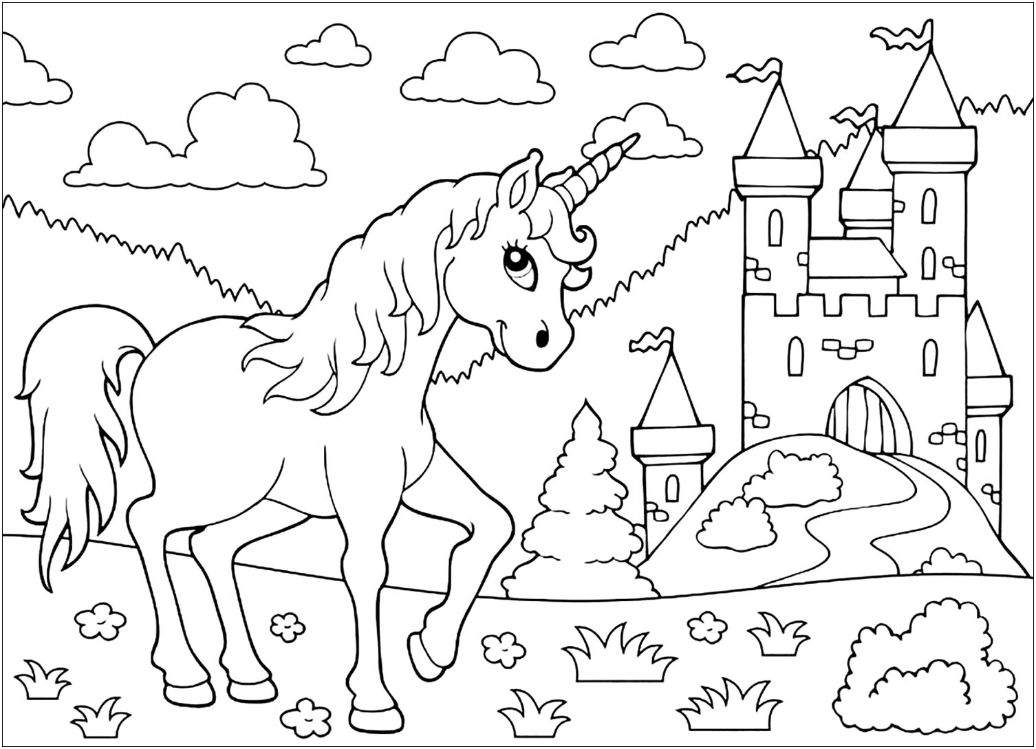 - Unicorns Free To Color For Kids - Unicorns Kids Coloring Pages