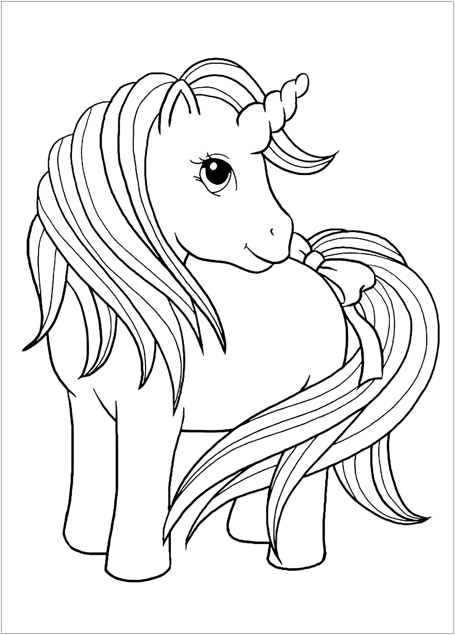 Free Unicorns coloring page to print and color