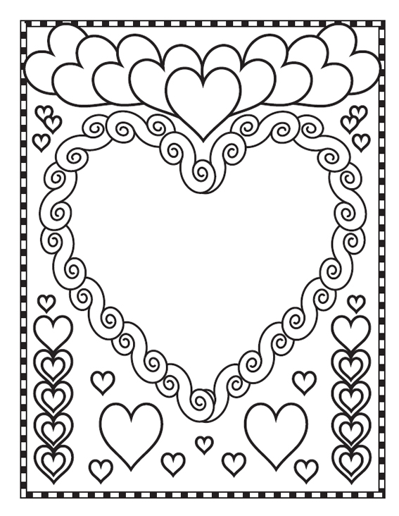 Valentines Day coloring page to print and color for free