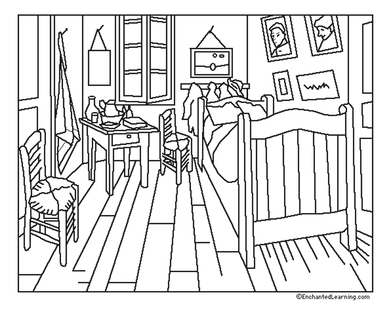 Van gogh coloring page with few details for kids