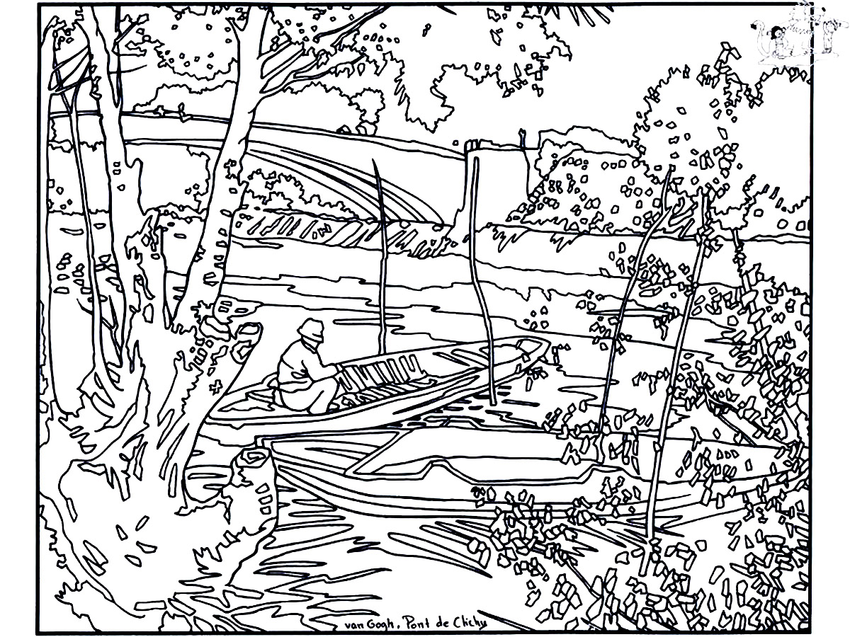 Vincent Van Gogh coloring page to print and color