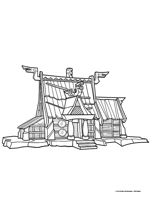 Simple free Vic The Viking coloring page to print and color