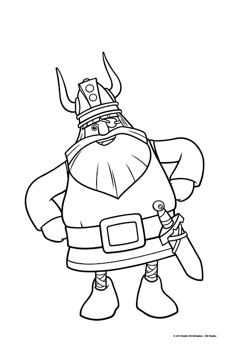 Simple Vic The Viking coloring page to print and color for free