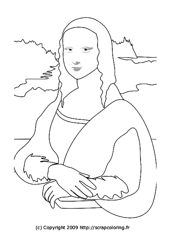 Simple Mona Lisa coloring page