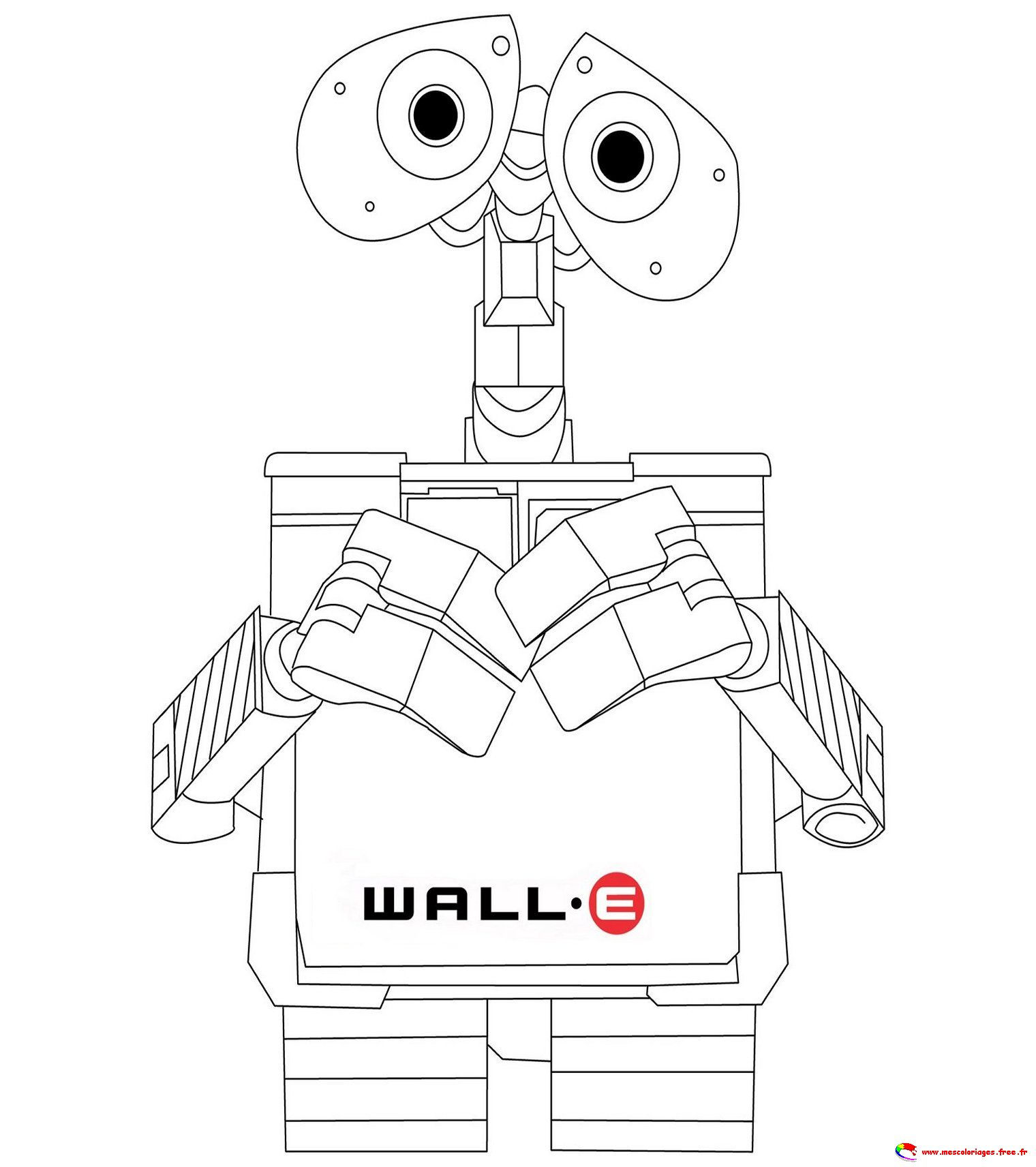 Simple Wall E Coloring Page To Print And Color For Free