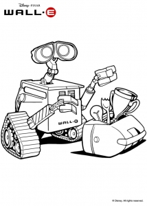 Coloring page wall e for kids