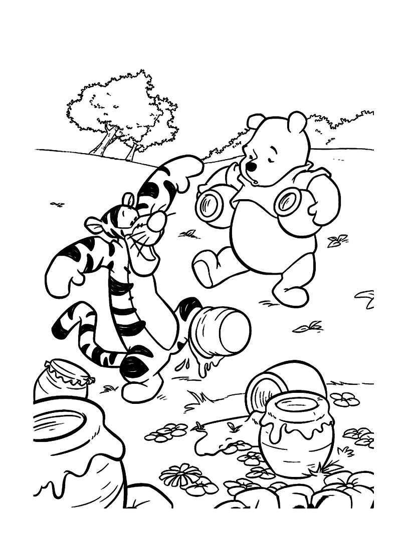 Winnie The Pooh coloring page to print and color for free