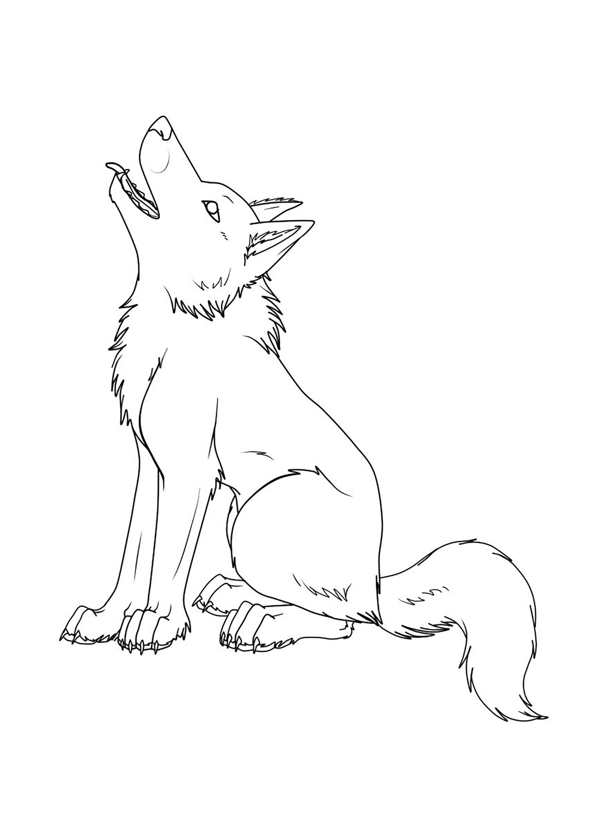 Incredible Wolf coloring page to print and color for free
