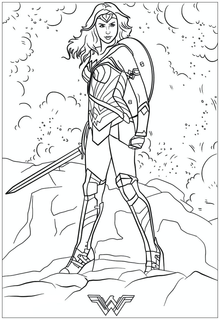 Funny Wonder Woman coloring page for kids