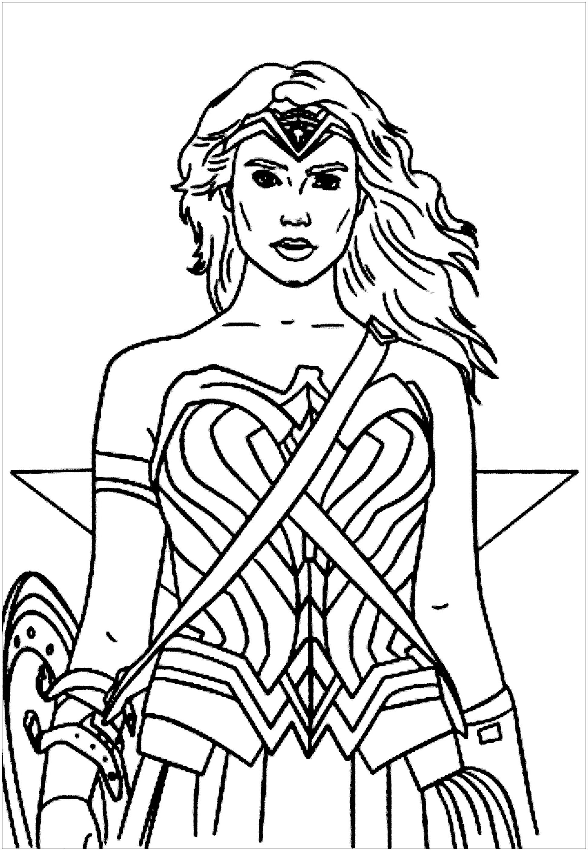 Simple free Wonder Woman coloring page to print and color