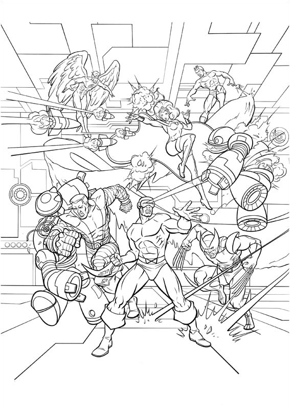 Free X Men coloring page to print and color, for kids
