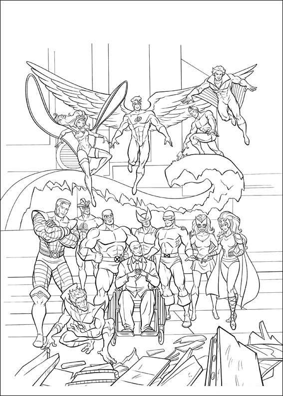 Printable X Men coloring page to print and color for free