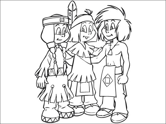 Simple Yakari coloring page to print and color for free