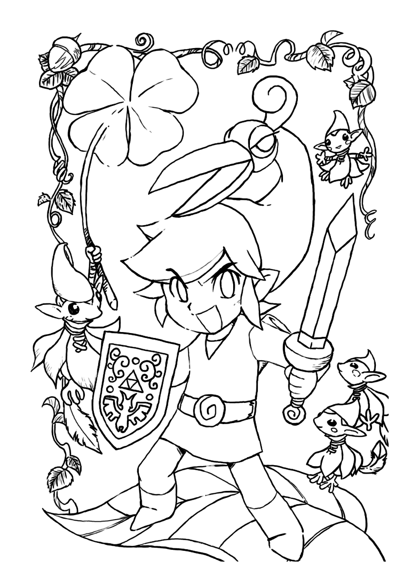 Cute free Zelda coloring page to download