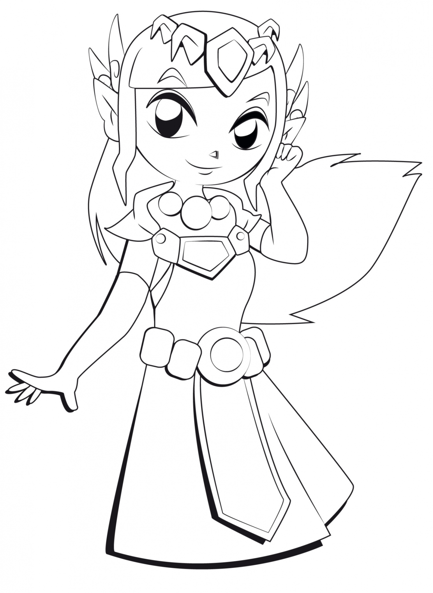 Zelda coloring page with few details for kids