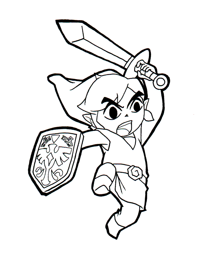 Zelda coloring page to print and color for free