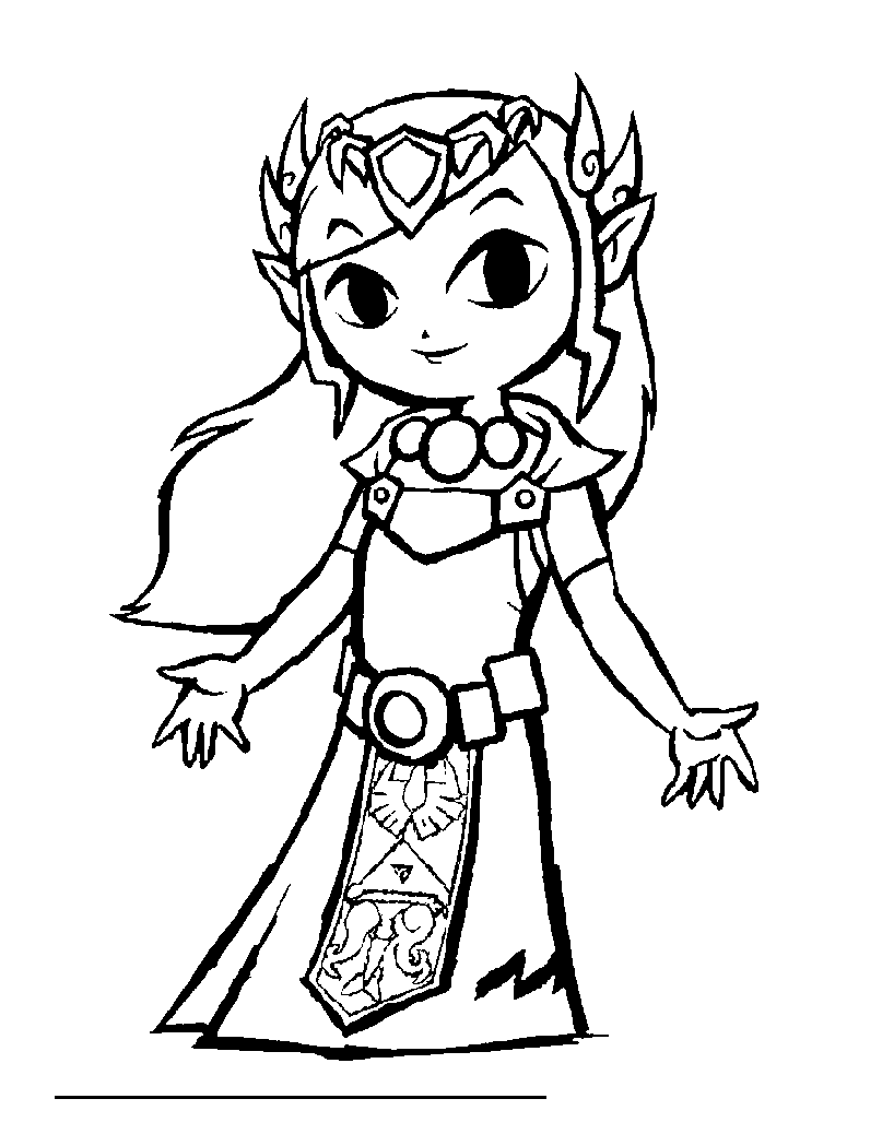 Easy free Zelda coloring page to download