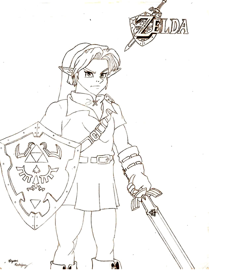 Printable Zelda coloring page to print and color