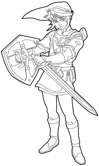 Free Zelda coloring page to download, for children