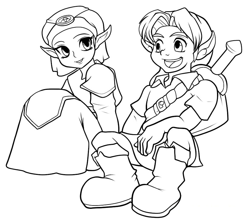 Beautiful Zelda coloring page to print and color