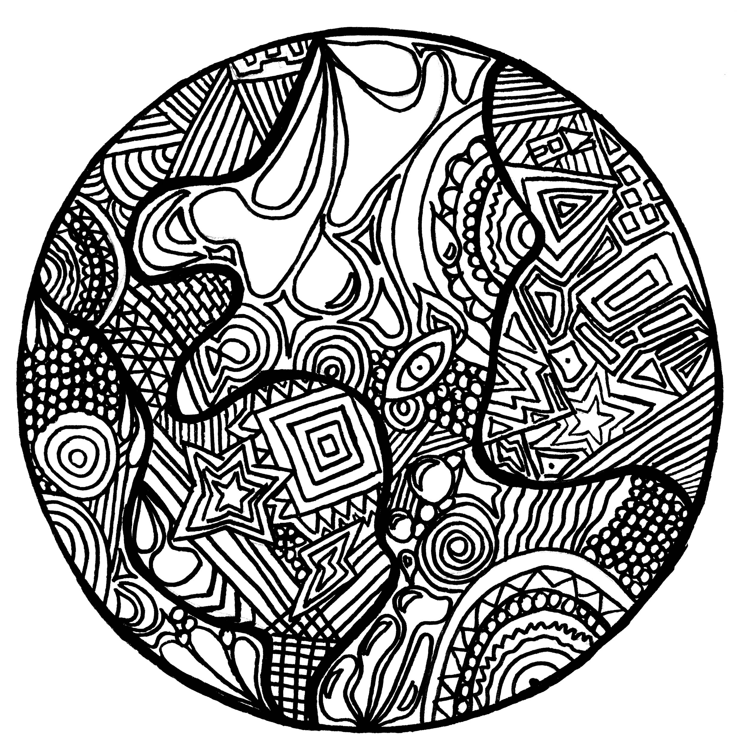 Incredible Zentangle coloring page to print and color for free