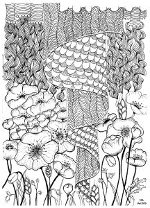 Coloring page zentangle free to color for children